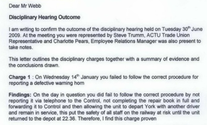 How tpe lie 39 s worked transpennine express conspiracy for Grievance outcome letter template